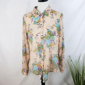 ♦️2/$20 NWT Love Fire Peach Floral Button-up Large